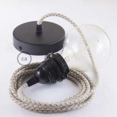 Viseča luč za senčilo z okroglim tekstilnim kablom RD63 - Romb, lan in rjav bombaž