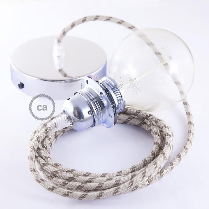 Viseča luč za senčilo z okroglim tekstilnim kablom RD53 - Črte, lan in rjav bombaž