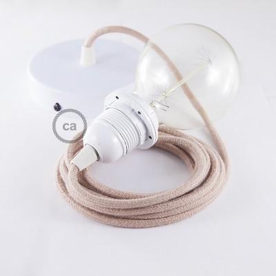 Viseča luč za senčilo z okroglim tekstilnim kablom RD71 - Zigzag, lan in rožnati bombaž