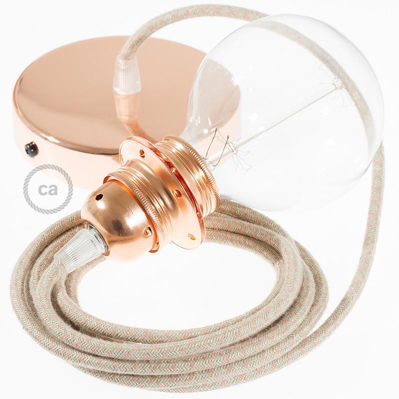 Viseča luč za senčilo z okroglim tekstilnim kablom RD61 - Romb, lan in rožnati bombaž