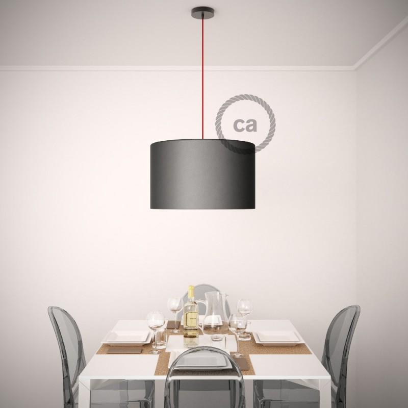 Viseča luč za senčilo z okroglim tekstilnim kablom RD72 - Zigzag, lan in timijan-zeleni bombaž