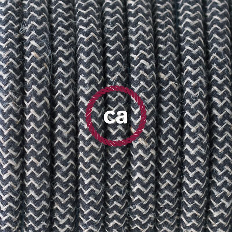 Viseča luč za senčilo z okroglim tekstilnim kablom RD74 - Zigzag, lan in antracit bombaž