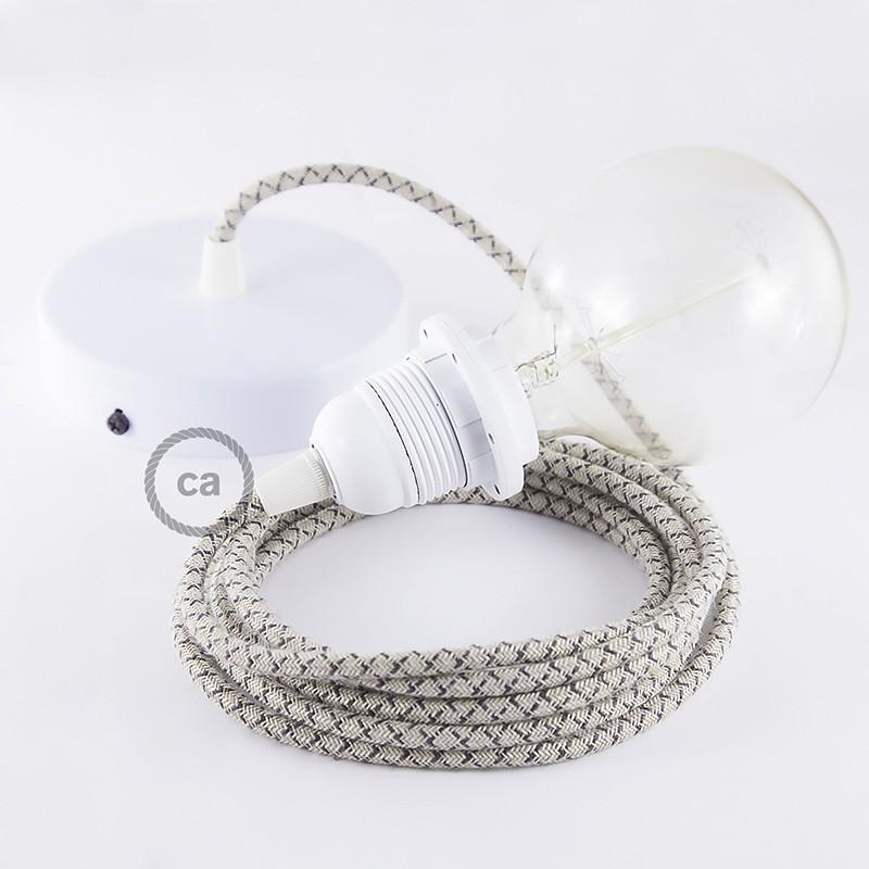 Viseča luč za senčilo z okroglim tekstilnim kablom RD64 - Romb, lan in antracit bombaž