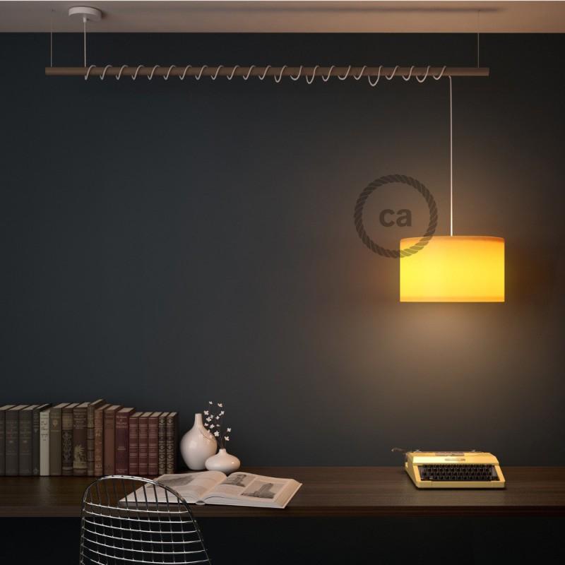 Viseča luč za senčilo z okroglim tekstilnim kablom RD54 - Črte, lan in antracit bombaž