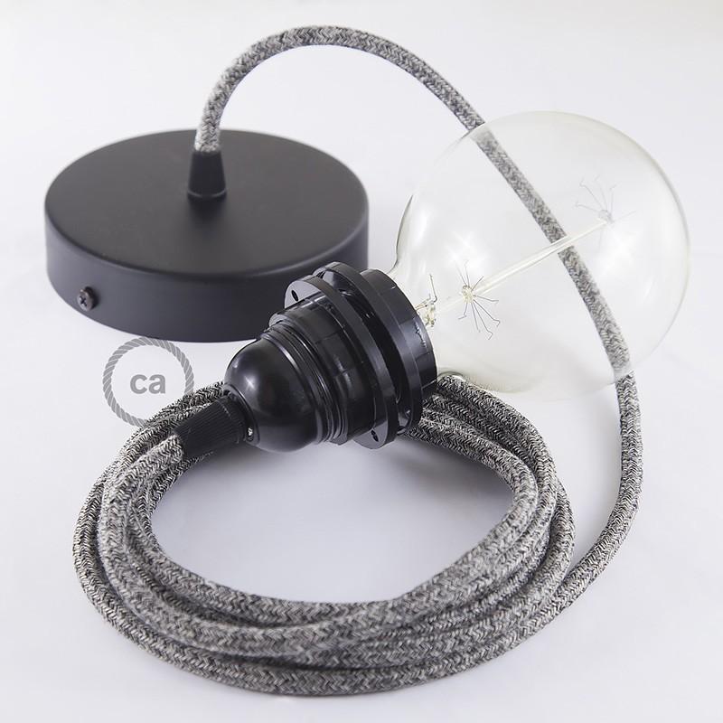 Viseča luč za senčilo z okroglim tekstilnim kablom RS81 - Onyx tvid: lan, gliter in črn bombaž