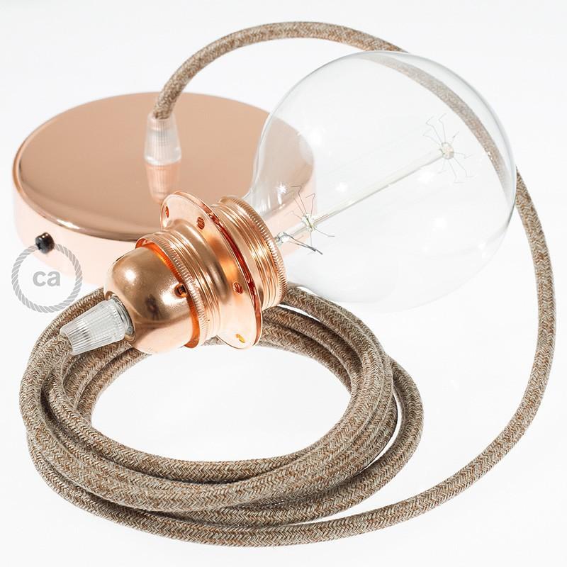 Viseča luč za senčilo z okroglim tekstilnim kablom RS82 - Rusast tvid: lan, gliter in rjav bombaž