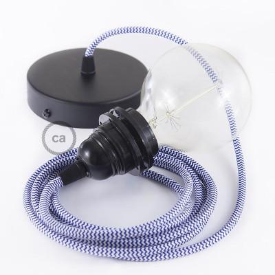 Viseča luč za senčilo z okroglim tekstilnim kablom RZ12 - zigzag moder