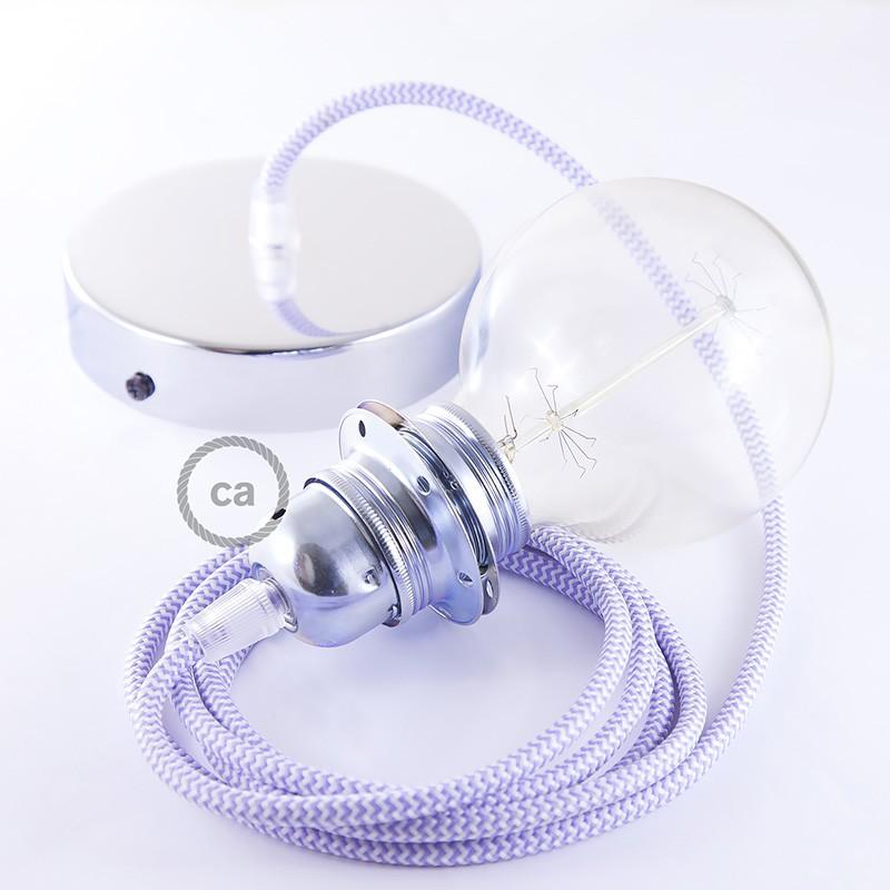 Viseča luč za senčilo z okroglim tekstilnim kablom RZ07 - zigzag lila