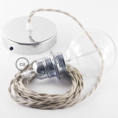 Viseča luč za senčilo z zavitim tekstilnim kablom TC43 - smetanast bombaž