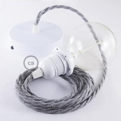 Viseča luč za senčilo z zavitim tekstilnim kablom TN02 - siv lan