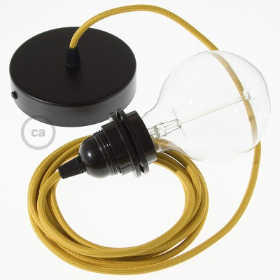 Viseča luč za senčilo z okroglim tekstilnim kablom RM25 - gorčično rumen