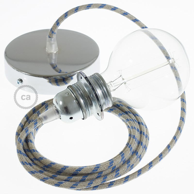 Viseča luč za senčilo z okroglim tekstilnim kablom RD55 - Črte, lan in nebesno moder bombaž
