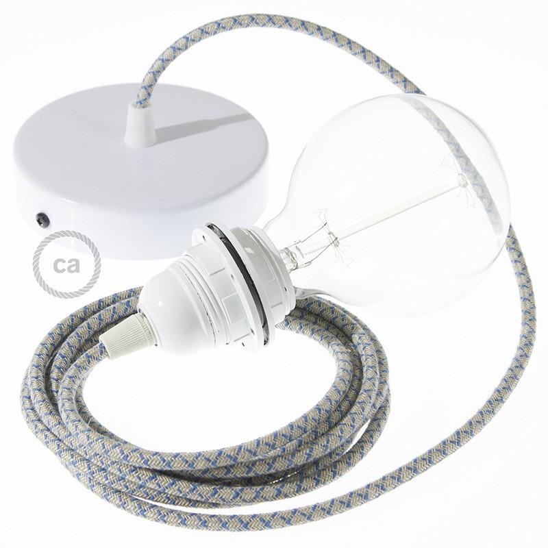 Viseča luč za senčilo z okroglim tekstilnim kablom RD65 - Romb, lan in nebesno moder bombaž