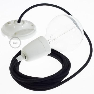 Viseča luč iz porcelana, set z okroglim tekstilnim kablom - črn bombaž RC04