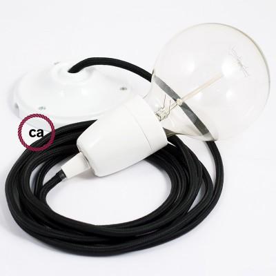 Viseča luč iz porcelana, set z okroglim tekstilnim kablom - črn RM04