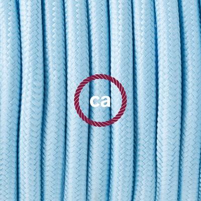 Viseča luč iz porcelana, set z okroglim tekstilnim kablom - Baby blue RM17