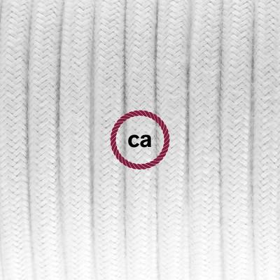 Viseča luč iz porcelana, set z okroglim tekstilnim kablom - bel bombaž RC01