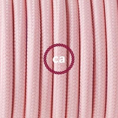 Viseča luč iz porcelana, set z okroglim tekstilnim kablom - Baby Pink RM16