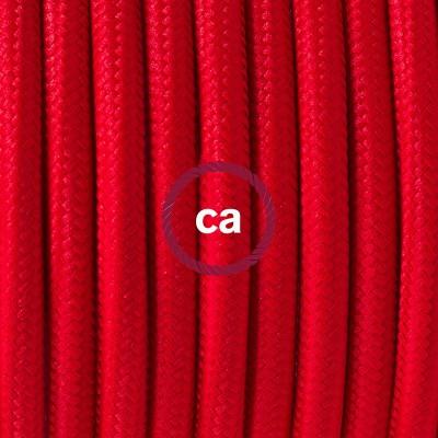 Viseča luč iz porcelana, set z okroglim tekstilnim kablom - rdeč RM09