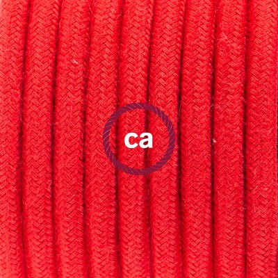 Viseča luč iz porcelana, set z okroglim tekstilnim kablom - ognjeno rdeč bombaž, RC35