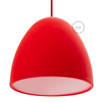 Silikonski senčnik za svetilko, rdeč, z difuzorjem svetlobe in objemko. Premer 25cm.
