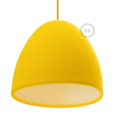 Silikonski senčnik za svetilko, rumen, z difuzorjem svetlobe in objemko. Premer 25cm.