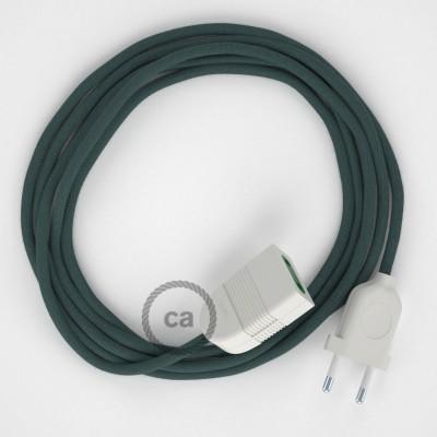 Podaljševalni kabel za napajanje (2P 10A) kamnito-siv bombaž RC30 - Made in Italy