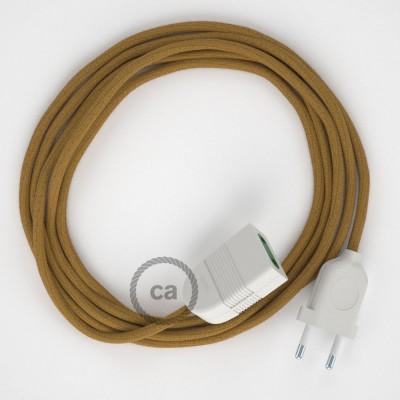 Podaljševalni kabel za napajanje (2P 10A) medeno-zlat bombaž RC31 - Made in Italy
