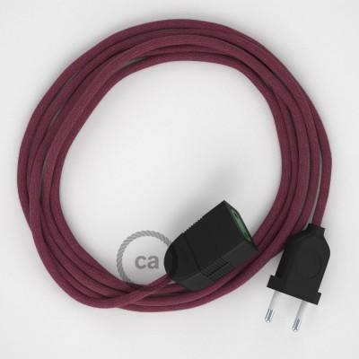 Podaljševalni kabel za napajanje (2P 10A) bordo bombaž RC32 - Made in Italy