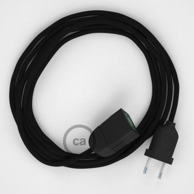 Podaljševalni kabel za napajanje (2P 10A) črn rejon RM04 - Made in Italy