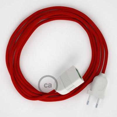 Podaljševalni kabel za napajanje (2P 10A) rdeč rejon RM09 - Made in Italy