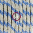 Komplet s stikalom, RD55 črte, nebesno moder naravni lan in bombaž 1,80 m. Izberite barvo vtikača in stikala.