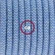 Komplet s stikalom, RD75 zigzag, nebesno moder naravni lan in bombaž 1,80 m. Izberite barvo vtikača in stikala.