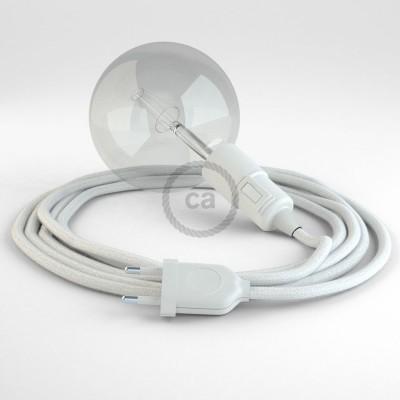 """Viseča luč """"Kača"""" iz okroglega kabla RC01, bel bombaž."""