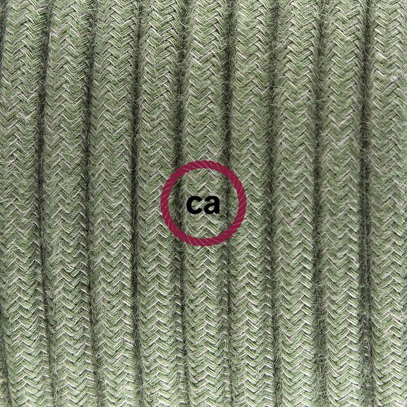 """Viseča luč """"Kača"""" iz okroglega kabla RC63, sivo-zeleni bombaž."""