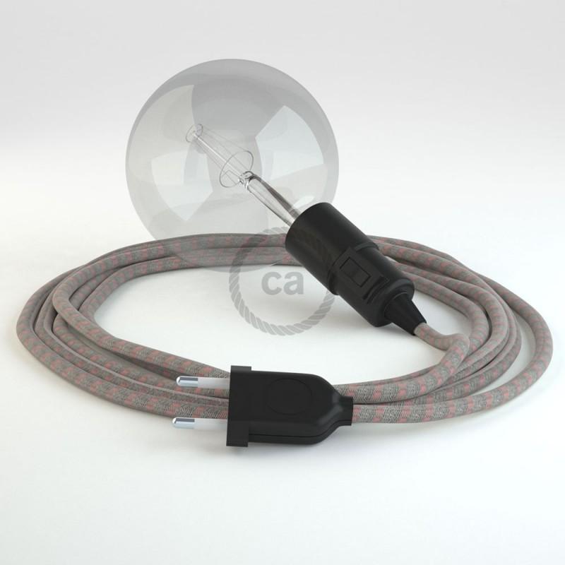 """Viseča luč """"Kača"""" iz okroglega kabla RD51, Črte, lan in rožnati bombaž."""