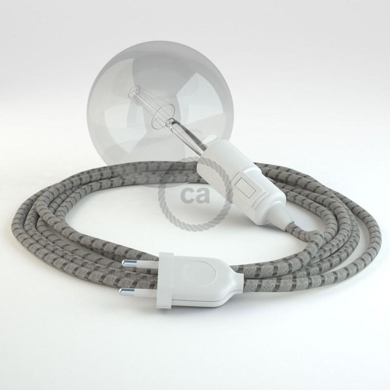 """Viseča luč """"Kača"""" iz okroglega kabla RD53, Črte, lan in rjav bombaž."""