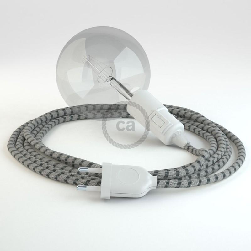 """Viseča luč """"Kača"""" iz okroglega kabla RD54, Črte, lan in antracit bombaž."""