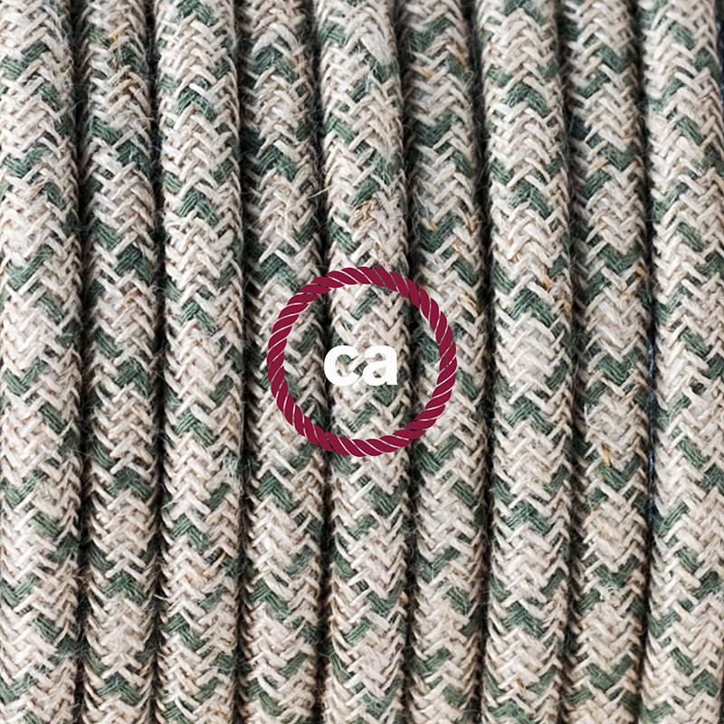 """Viseča luč """"Kača"""" iz okroglega kabla RD62, Romb, lan in timijan-zeleni bombaž."""