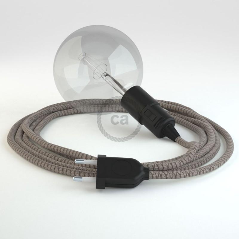 """Viseča luč """"Kača"""" iz okroglega kabla RD63, Romb, lan in rjav bombaž."""