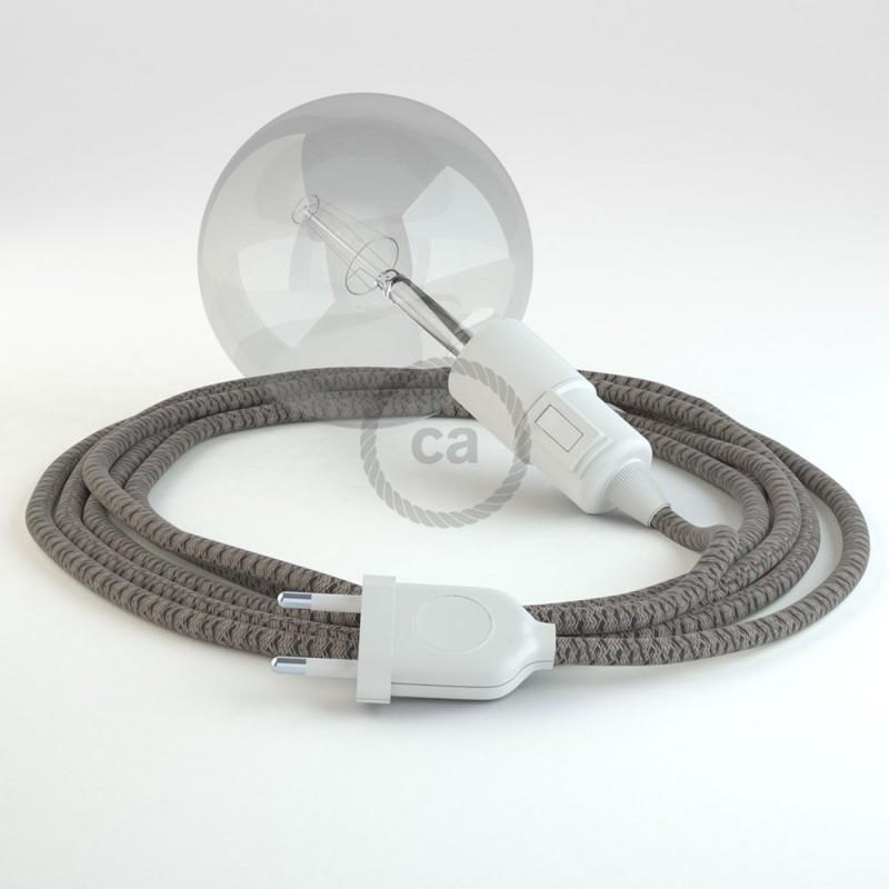 """Viseča luč """"Kača"""" iz okroglega kabla RD64, Romb, lan in antracit bombaž."""