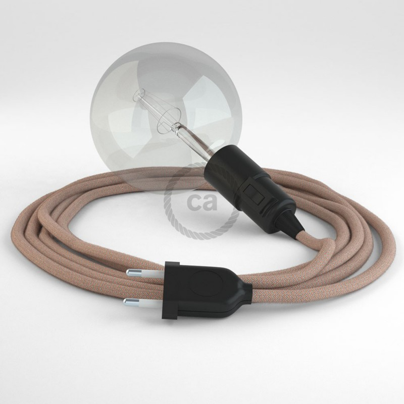 """Viseča luč """"Kača"""" iz okroglega kabla RD71, Zigzag, lan in rožnati bombaž."""