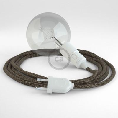 """Viseča luč """"Kača"""" iz okroglega kabla RD73, Zigzag, lan in rjav bombaž."""