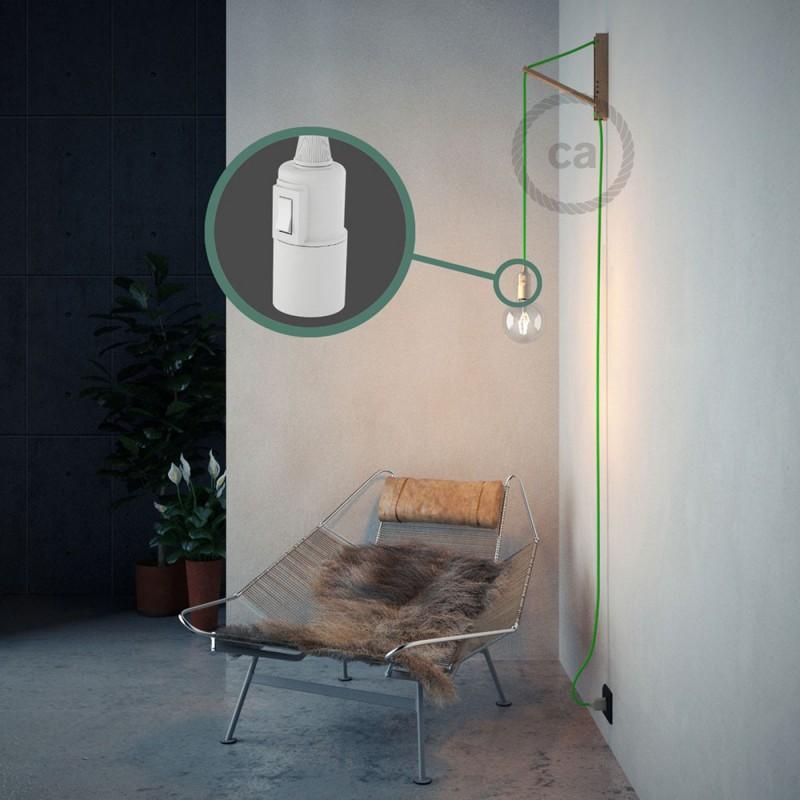 """Viseča luč """"Kača"""" iz okroglega kabla RF06, fluo zelen."""