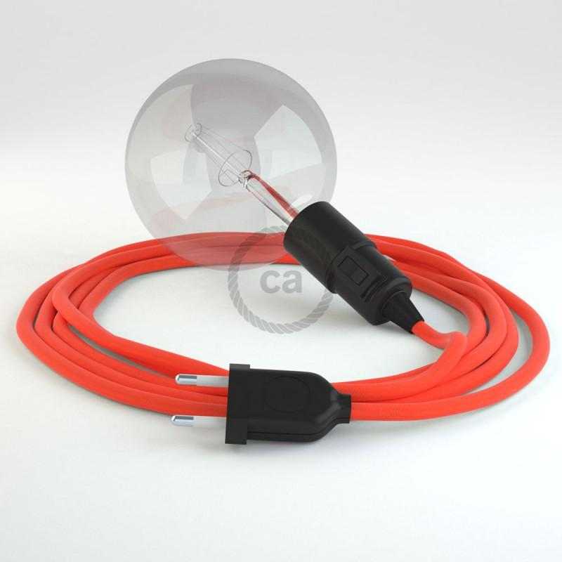 """Viseča luč """"Kača"""" iz okroglega kabla RF15, fluo oranžen."""