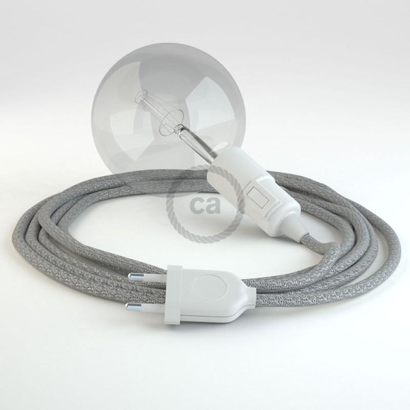 """Viseča luč """"Kača"""" iz okroglega kabla RL02, lesketajoč srebrn."""