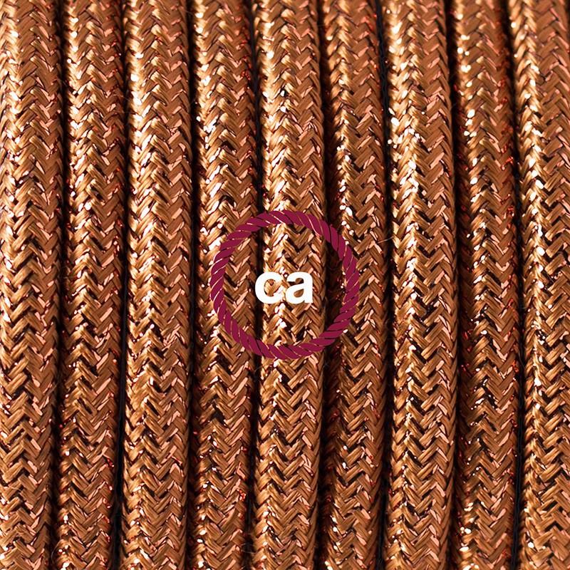 """Viseča luč """"Kača"""" iz okroglega kabla RL22, lesketajoč bakren."""