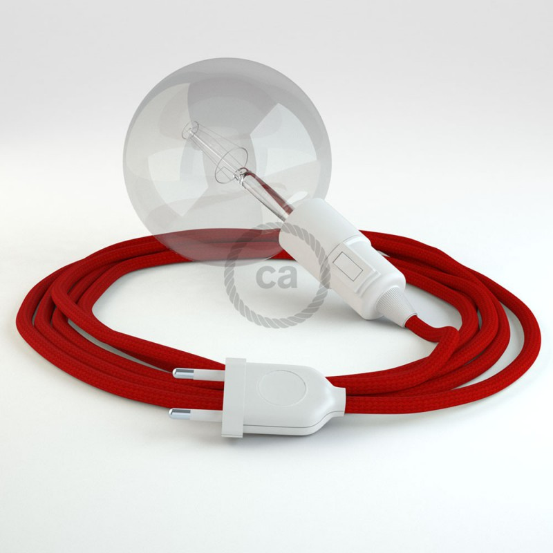 """Viseča luč """"Kača"""" iz okroglega kabla RM09, rdeč."""