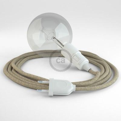 "Viseča luč ""Kača"" iz okroglega kabla RN01, naravni lan."