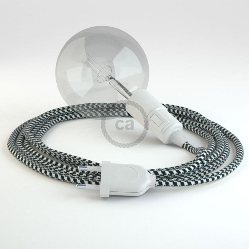 "Viseča luč ""Kača"" iz okroglega kabla RP04, vzorčast črn."